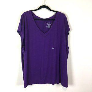 Cacique Sleepwear Purple V Neck Sleep Shirt